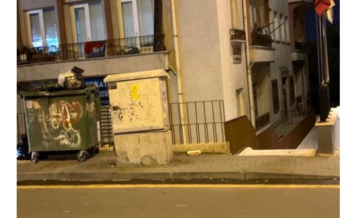 Görme engelli şeridinin üzerinde duran çöp konteyneri geçişleri engelliyor