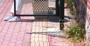Otobüs durağı görme engelliler için yere konulan sarı şeridin üzerine yapıldı
